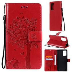 Embossing Butterfly Tree Leather Wallet Case for Samsung Galaxy A72 (4G, 5G) - Red