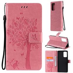 Embossing Butterfly Tree Leather Wallet Case for Samsung Galaxy A72 (4G, 5G) - Pink