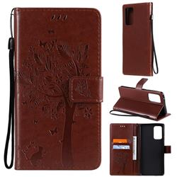 Embossing Butterfly Tree Leather Wallet Case for Samsung Galaxy A72 (4G, 5G) - Coffee