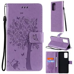Embossing Butterfly Tree Leather Wallet Case for Samsung Galaxy A72 (4G, 5G) - Violet