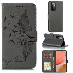 Intricate Embossing Lychee Feather Bird Leather Wallet Case for Samsung Galaxy A72 (4G, 5G) - Gray