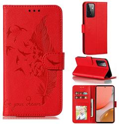 Intricate Embossing Lychee Feather Bird Leather Wallet Case for Samsung Galaxy A72 (4G, 5G) - Red