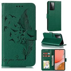 Intricate Embossing Lychee Feather Bird Leather Wallet Case for Samsung Galaxy A72 (4G, 5G) - Green