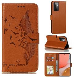 Intricate Embossing Lychee Feather Bird Leather Wallet Case for Samsung Galaxy A72 (4G, 5G) - Brown