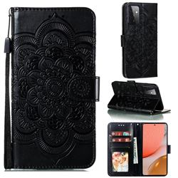 Intricate Embossing Datura Solar Leather Wallet Case for Samsung Galaxy A72 (4G, 5G) - Black
