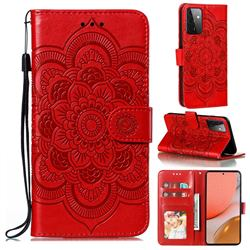 Intricate Embossing Datura Solar Leather Wallet Case for Samsung Galaxy A72 (4G, 5G) - Red
