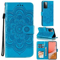Intricate Embossing Datura Solar Leather Wallet Case for Samsung Galaxy A72 (4G, 5G) - Blue