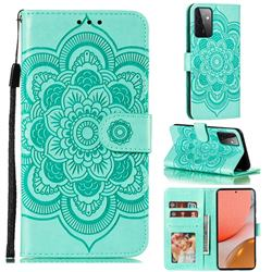 Intricate Embossing Datura Solar Leather Wallet Case for Samsung Galaxy A72 (4G, 5G) - Green