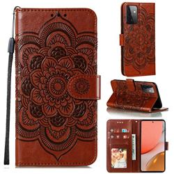 Intricate Embossing Datura Solar Leather Wallet Case for Samsung Galaxy A72 (4G, 5G) - Brown