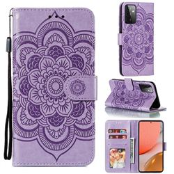 Intricate Embossing Datura Solar Leather Wallet Case for Samsung Galaxy A72 (4G, 5G) - Purple
