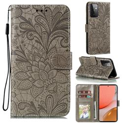Intricate Embossing Lace Jasmine Flower Leather Wallet Case for Samsung Galaxy A72 (4G, 5G) - Gray