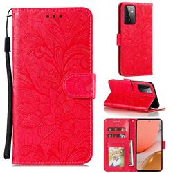 Intricate Embossing Lace Jasmine Flower Leather Wallet Case for Samsung Galaxy A72 (4G, 5G) - Red