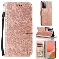 Intricate Embossing Lace Jasmine Flower Leather Wallet Case for Samsung Galaxy A72 (4G, 5G) - Rose Gold