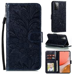 Intricate Embossing Lace Jasmine Flower Leather Wallet Case for Samsung Galaxy A72 (4G, 5G) - Dark Blue