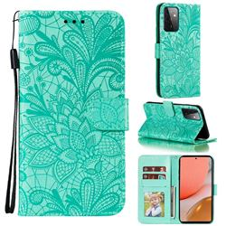 Intricate Embossing Lace Jasmine Flower Leather Wallet Case for Samsung Galaxy A72 (4G, 5G) - Green