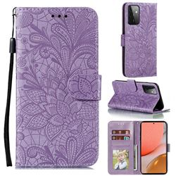 Intricate Embossing Lace Jasmine Flower Leather Wallet Case for Samsung Galaxy A72 (4G, 5G) - Purple