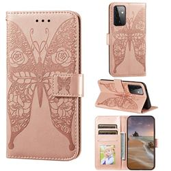 Intricate Embossing Rose Flower Butterfly Leather Wallet Case for Samsung Galaxy A72 (4G, 5G) - Rose Gold