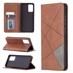 Prismatic Slim Magnetic Sucking Stitching Wallet Flip Cover for Samsung Galaxy A72 (4G, 5G) - Brown