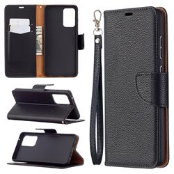 Classic Luxury Litchi Leather Phone Wallet Case for Samsung Galaxy A72 (4G, 5G) - Black