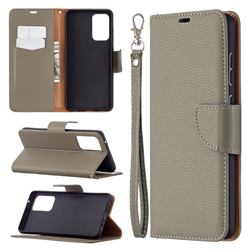 Classic Luxury Litchi Leather Phone Wallet Case for Samsung Galaxy A72 (4G, 5G) - Gray