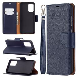Classic Luxury Litchi Leather Phone Wallet Case for Samsung Galaxy A72 (4G, 5G) - Blue