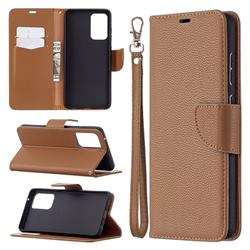 Classic Luxury Litchi Leather Phone Wallet Case for Samsung Galaxy A72 (4G, 5G) - Brown