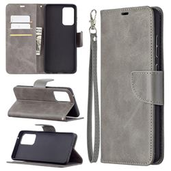 Classic Sheepskin PU Leather Phone Wallet Case for Samsung Galaxy A72 (4G, 5G) - Gray
