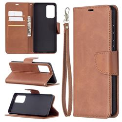 Classic Sheepskin PU Leather Phone Wallet Case for Samsung Galaxy A72 (4G, 5G) - Brown