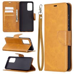 Classic Sheepskin PU Leather Phone Wallet Case for Samsung Galaxy A72 (4G, 5G) - Yellow