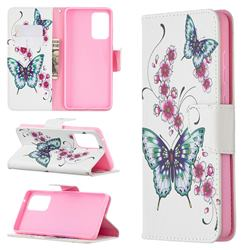 Peach Butterflies Leather Wallet Case for Samsung Galaxy A72 (4G, 5G)