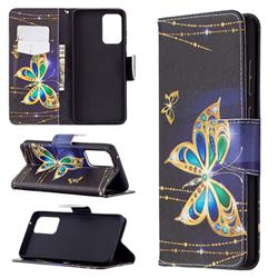Golden Shining Butterfly Leather Wallet Case for Samsung Galaxy A72 (4G, 5G)
