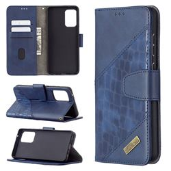 BinfenColor BF04 Color Block Stitching Crocodile Leather Case Cover for Samsung Galaxy A72 (4G, 5G) - Blue