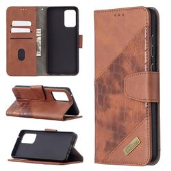 BinfenColor BF04 Color Block Stitching Crocodile Leather Case Cover for Samsung Galaxy A72 (4G, 5G) - Brown