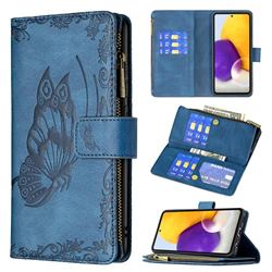 Binfen Color Imprint Vivid Butterfly Buckle Zipper Multi-function Leather Phone Wallet for Samsung Galaxy A72 (4G, 5G) - Blue