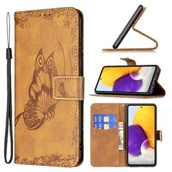 Binfen Color Imprint Vivid Butterfly Leather Wallet Case for Samsung Galaxy A72 (4G, 5G) - Brown