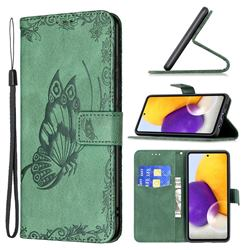 Binfen Color Imprint Vivid Butterfly Leather Wallet Case for Samsung Galaxy A72 (4G, 5G) - Green