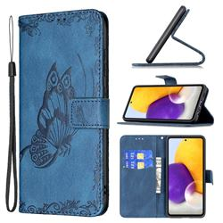 Binfen Color Imprint Vivid Butterfly Leather Wallet Case for Samsung Galaxy A72 (4G, 5G) - Blue