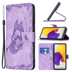 Binfen Color Imprint Vivid Butterfly Leather Wallet Case for Samsung Galaxy A72 (4G, 5G) - Purple