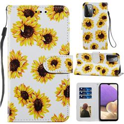 Sunflower Smooth Leather Phone Wallet Case for Samsung Galaxy A72 (4G, 5G)