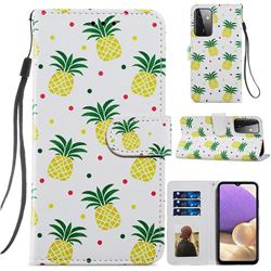 Pineapple Smooth Leather Phone Wallet Case for Samsung Galaxy A72 (4G, 5G)