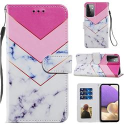 Smoke Marble Smooth Leather Phone Wallet Case for Samsung Galaxy A72 (4G, 5G)