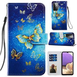 Phnom Penh Butterfly Smooth Leather Phone Wallet Case for Samsung Galaxy A72 (4G, 5G)