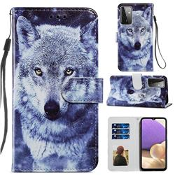 White Wolf Smooth Leather Phone Wallet Case for Samsung Galaxy A72 (4G, 5G)