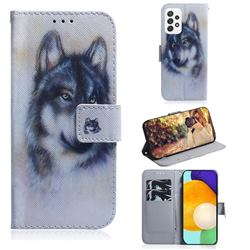 Snow Wolf PU Leather Wallet Case for Samsung Galaxy A72 (4G, 5G)