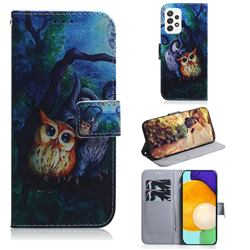 Oil Painting Owl PU Leather Wallet Case for Samsung Galaxy A72 (4G, 5G)