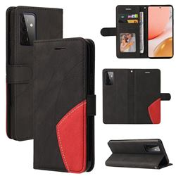 Luxury Two-color Stitching Leather Wallet Case Cover for Samsung Galaxy A72 (4G, 5G) - Black