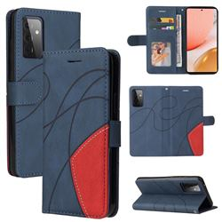 Luxury Two-color Stitching Leather Wallet Case Cover for Samsung Galaxy A72 (4G, 5G) - Blue