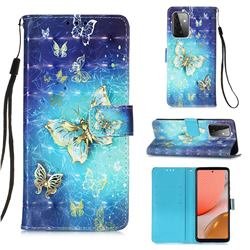 Gold Butterfly 3D Painted Leather Wallet Case for Samsung Galaxy A72 (4G, 5G)