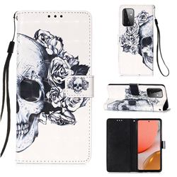Skull Flower 3D Painted Leather Wallet Case for Samsung Galaxy A72 (4G, 5G)
