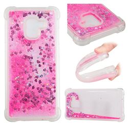 Dynamic Liquid Glitter Sand Quicksand TPU Case for Samsung Galaxy A8+ (2018) - Pink Love Heart